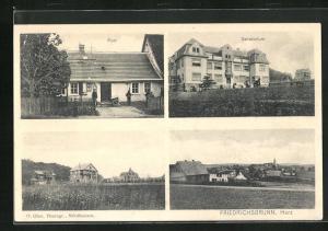 AK Friedrichsbrunn / Harz, Panorama, Post und Sanatorium