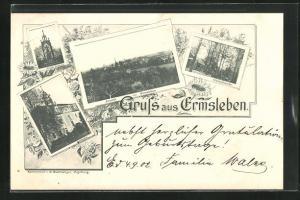 AK Ermsleben, Gesamtansicht, Gasthaus Waldschenke & Rathaus