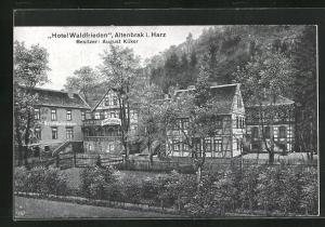 AK Altenbrak i. Harz, Partie am Hotel Waldfrieden