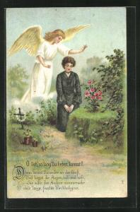 Künstler-AK Am Elterngrab, trauerndes Fräulein und Engel