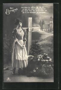 AK Am Elterngrab, trauerndes Mädchen blickt auf das Grab