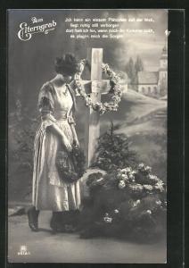 AK junge Frau mit Kranz am Elterngrab