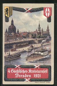 Künstler-AK Dresden, 4. Sächsisches Kreisturnfest 1921, Festplatz mit Strassenbahn und Sachsen-Fähre