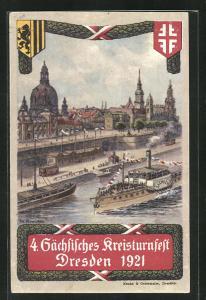 Künstler-AK Dresden, 4. Sächsisches Kreisturnfest 1921, Frauenkirche