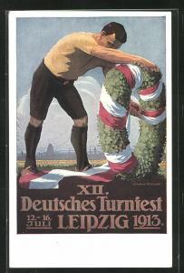 Künstler-AK Leipzig, XII. Deutsches Turnfest 1913, Der Festkran