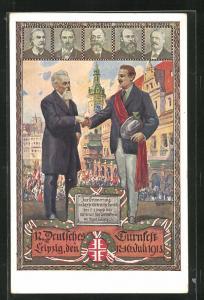 Künstler-AK Leipzig, 12. Deutsches Turnfest 1913, Herz und Hand dem Vaterland!
