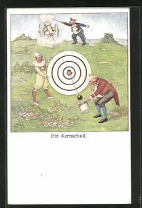 Künstler-AK Ein Kernschuss, Clown und Harlekin schiessen mit Kanone auf eine Zielscheibe