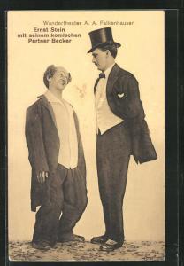 AK Wandertheater A. A. Falkenhausen, Ernst Stein mit seinem komischen Partner Becker