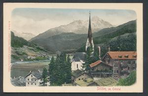Relief-AK Sölden im Oetztal, Blick auf Kirche