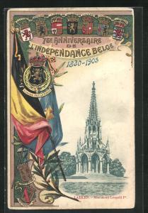 Passepartout-Lithographie Brüssel / Bruxelles, 75. Anniversaire de l`Independance Belge 1905, Monument Léopold I.