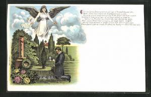 Lithographie Junger Mann kniet am Elterngrab mit Engel