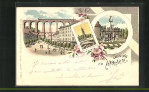 Lithographie Morlaix, Notre-Dame de Croaz-Baz, Le Calvaire, Viadukt