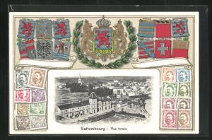 AK Bettembourg, Vue totale, Wappen, Briefmarken