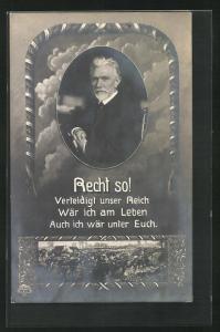 AK Recht so! Verteidigt unser Reich..., Führer der Arbeiterbewegung August Bebel