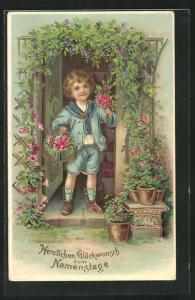AK Kleiner Junge im Matrosenanzug mit Blumenkorb, Glückwunsch zum Namenstag