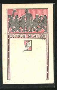 Künstler-AK St. Gallen, Zofinga St. Gallen, studentische Szene & Wappen