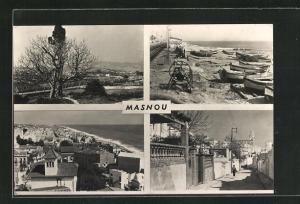 AK Masnou, vier Ansichten des Ortes