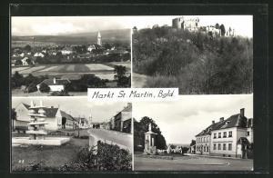 AK Markt St. Martin, Burg, Brunnenpartie