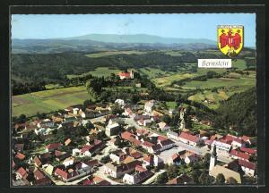 AK Bernstein, Blick über den Ort mit Burg