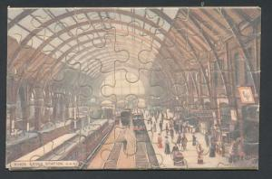 Puzzle-AK London, King`s Cross Station, Tuck`s Penny Jig-Saw Puzzle in original Verpackung!
