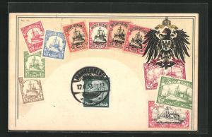 AK Briefmarken aus Deutsch-Ostafrika und deutscher Reichsadler