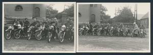 2 Fotografien Motorrad MZ-ES & AWO, Burschen mit Krad bei Motorrad-Treff