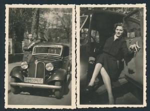 2 Fotografien Auto BMW, hübsche Dame sitzt im PKW, Kfz-Kennzeichen: KB 030 615