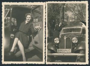 2 Fotografien Auto BMW, hübsche junge Dame sitzt im PKW, Kfz-Kennzeichen: KB 030 615
