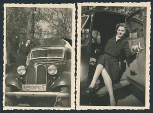 2 Fotografien Auto BMW, hübsche Dame im PKW, Kfz-Kennzeichen: KB 030 615