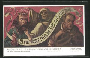 AK Hildesheim, Windbrettbilder vom Knochenhaueramthaus, Arm oder reich, Der Tod macht alles gleich
