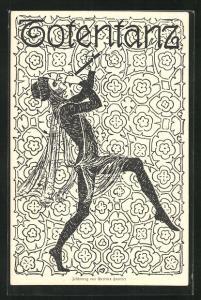 AK Totentanz, Mann spielt Flöte