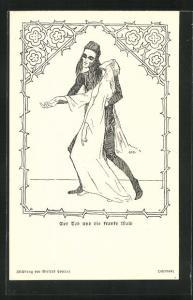 AK Der Tod mit der kranken Maid im Arm