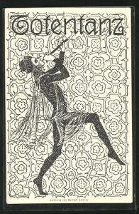 Künstler-AK Deutsche Volksspiele- und Märchenspiele-Postkarte Totentanz