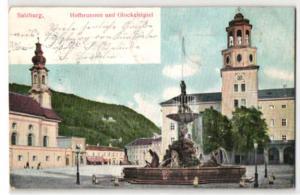 Relief-AK Salzburg, Hofbrunnen und Glockenspiel