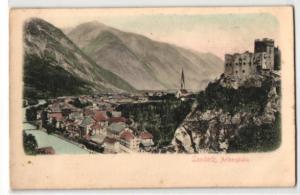Relief-AK Landeck, Panoramablick auf den Ort an der Arlbergbahn