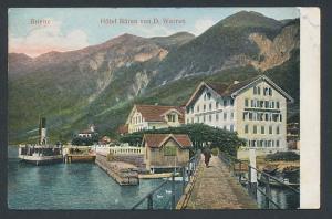 Relief-AK Brienz, Hotel Bären von D. Werren am Seeufer