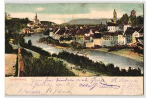Relief-AK Laufenburg, Panoramablick auf Fluss und Ort