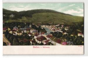 Relief-AK Baden, Panoramablick auf die Ortschaft