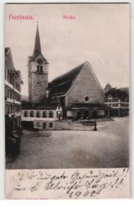 Relief-AK Herisau, Partie mit Kirche
