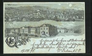 Mondschein-Lithographie Wyl, Blick auf das Asyl, Ortsansicht von der Südseite