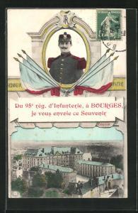 AK Bourges, 95. Rég. d`Infanterie, Kaserne, Soldat in Uniform