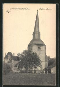 AK Ménetou-Couture, L`Église et le Donjon, Ansicht der Kirche