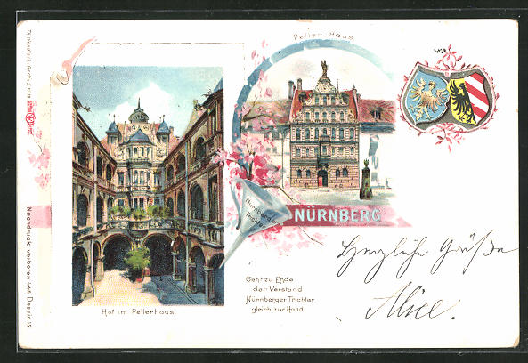 Lithographie Nürnberg, Peller Haus, Hof, Private Stadtpost