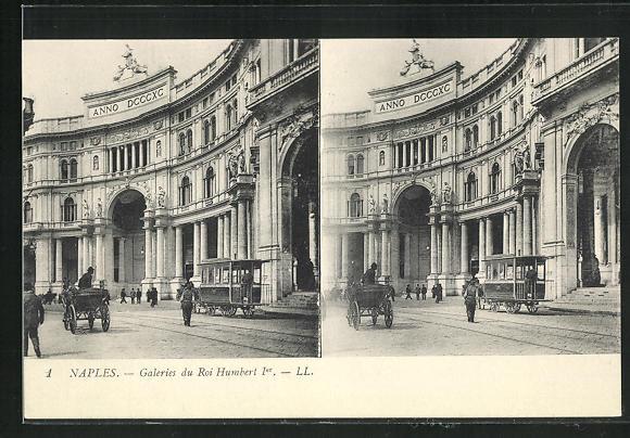 Stereo-AK Naples, Galeries du Roi Humbert Ier 0