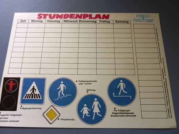 Stundenplan: Verkehrserziehung, Original aus DDR-Produktion, A4