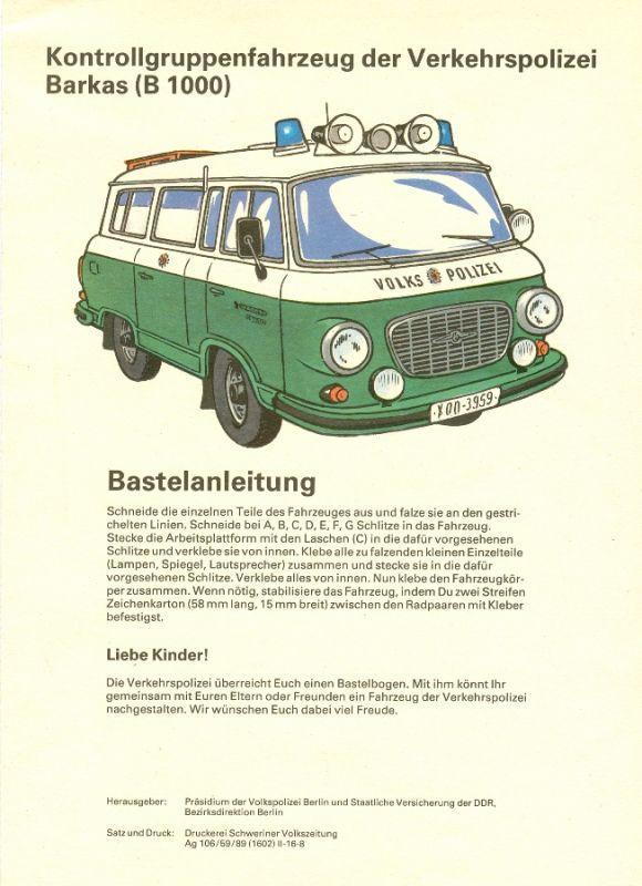 Modellbau: DDR-Bastelbogen - Kontrollgruppenfahrzeug der Verkehrspolizei der DDR, Barkas (B 1000) Original aus DDR-Produktion - EXTREM SELTEN! 0