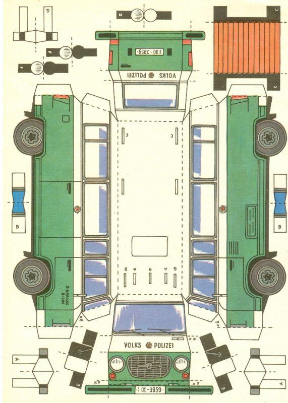 Modellbau: DDR-Bastelbogen - Kontrollgruppenfahrzeug der Verkehrspolizei der DDR, Barkas (B 1000) Original aus DDR-Produktion - EXTREM SELTEN! 1
