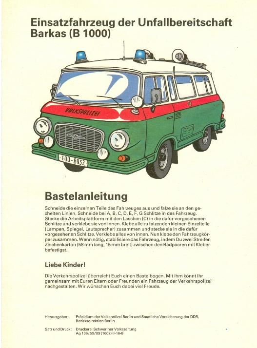 Modellbau: DDR-Bastelbogen, Einsatzfahrzeug der Unfallbereitschaft der DDR, Barkas (B 1000), Original aus DDR-Produktion - EXTREM SELTEN! 0