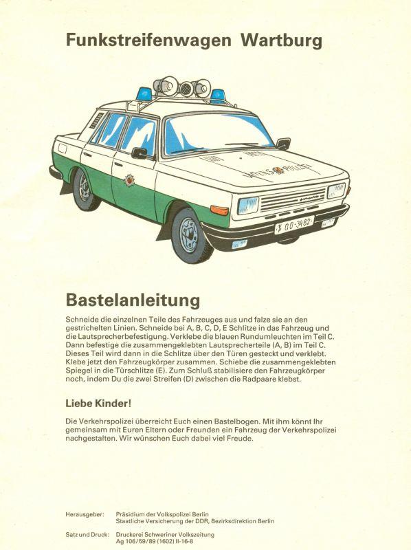 Modellbau: DDR-Bastelbogen, Funkstreifenwagen der Volkspolizei der DDR, Wartburg, Original aus DDR-Produktion – EXTREM SELTEN!