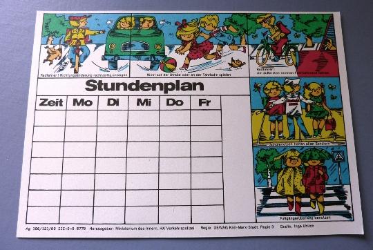 Stundenplan: DDR-Stundenplan zur Verkehrserziehung, Original aus DDR-Produktion, 80er Jahre